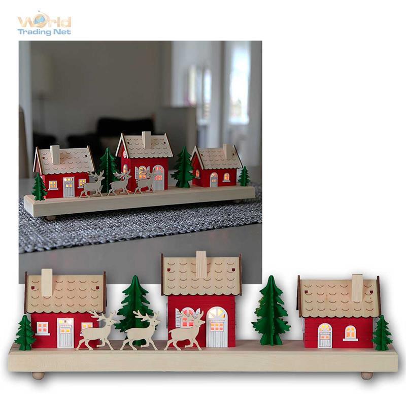 weihnachtshaus weihnachtsdorf mit led beleuchtung timer batteriebetrieb deko ebay. Black Bedroom Furniture Sets. Home Design Ideas