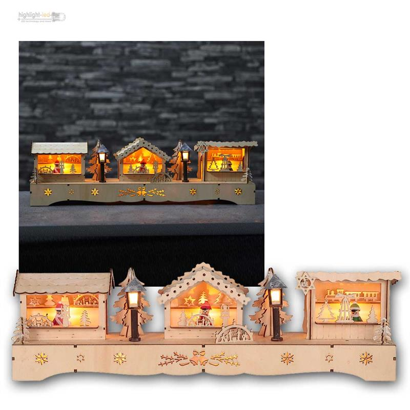 weihnachtshaus mit led beleuchtung timer batteriebetrieb deko haus weihnachten ebay. Black Bedroom Furniture Sets. Home Design Ideas
