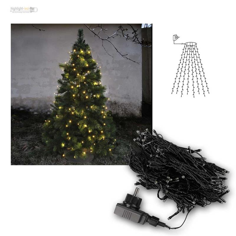 lichterkette f r weihnachtsbaum 160 led 8 str nge baumvorhang ip44 innen au en ebay. Black Bedroom Furniture Sets. Home Design Ideas