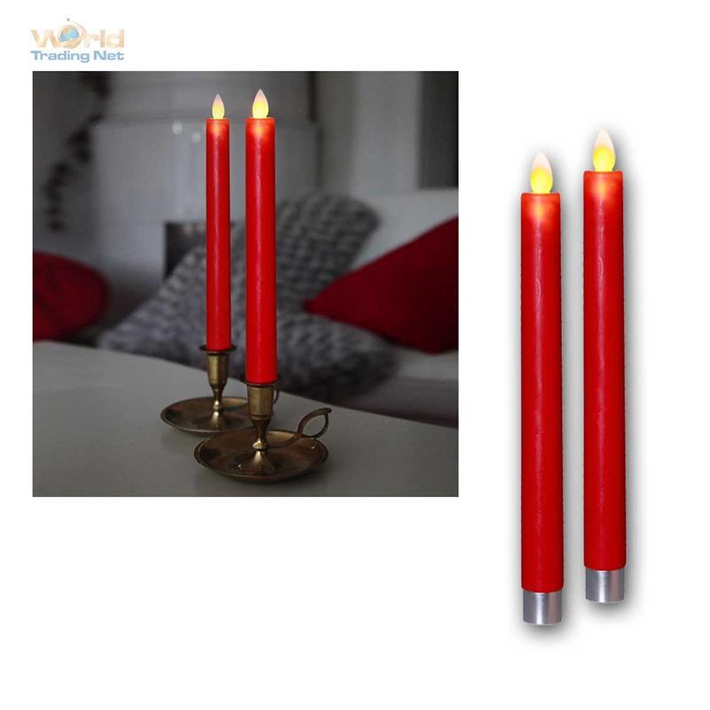 2 led stabkerzen glim bewegliche flamme timer echtwachs mantel flammenlose kerze ebay. Black Bedroom Furniture Sets. Home Design Ideas