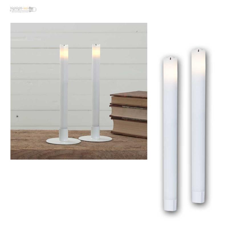 led stabkerzen tafelkerzen wave 2er set elektrisch flammenlos kerze mit timer ebay. Black Bedroom Furniture Sets. Home Design Ideas
