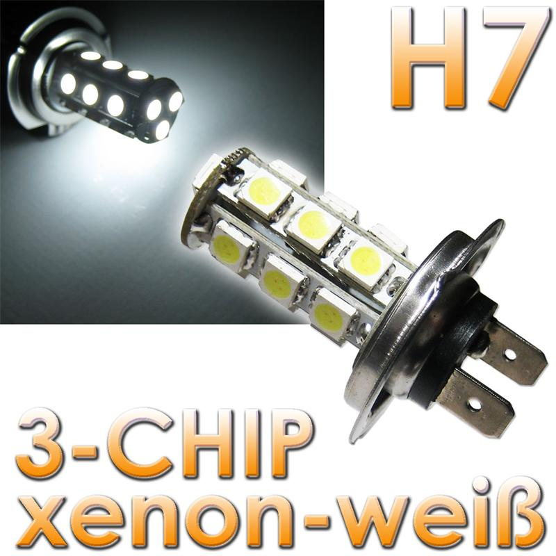 1-Paar-H7-LED-Leuchtmittel-Xenon-Weiss-3-Chip-SMD-LEDs
