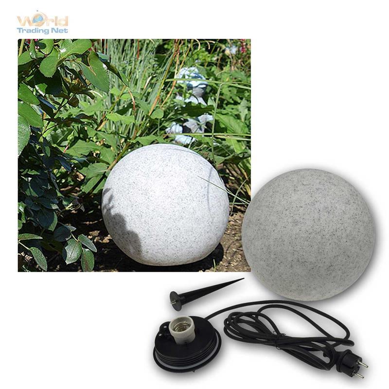 Garten Kugelleuchte E27 28cm Außenlampe Gartenlampe Granit Kugel Erdspieß IP44