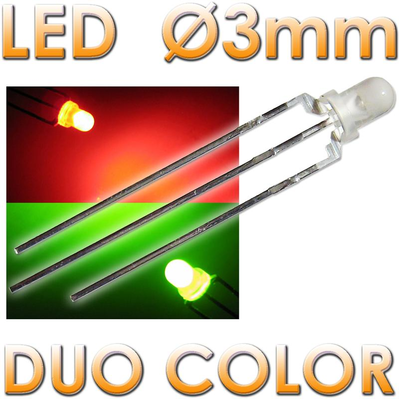 10-Bi-Color-LEDs-3mm-diffus-rot-gruen-LED-3-polig-DUO