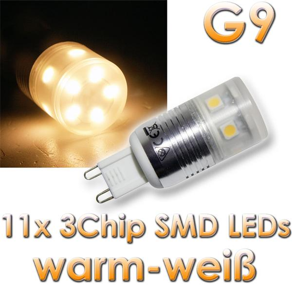 led leuchtmittel g9 11x 3chip smd leds warmwei im led. Black Bedroom Furniture Sets. Home Design Ideas