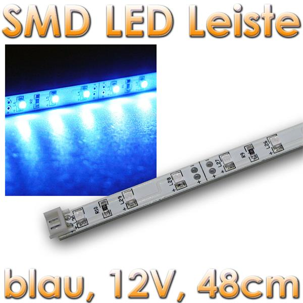 smd led leiste blau 12v dc 48cm steckbar indoor im led onlineshop. Black Bedroom Furniture Sets. Home Design Ideas