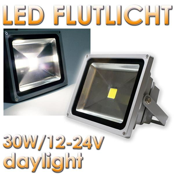 30W LED Fluter, 12-24V DC, IP65, daylight, 2400lm 20212