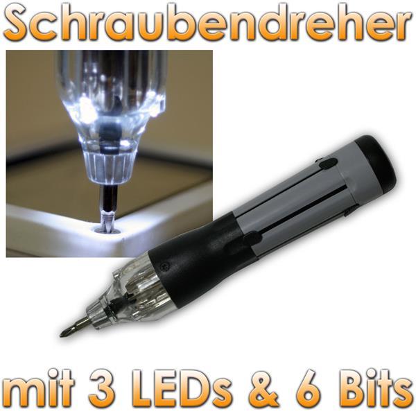pic a mini schrauber mit 3 led 6 bits schraubendreher 5403. Black Bedroom Furniture Sets. Home Design Ideas
