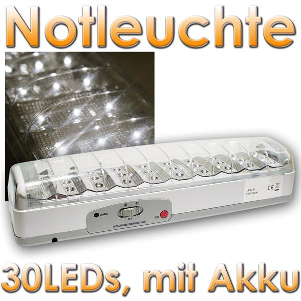 notleuchte secure 30 led mit akku 3 5h betrieb im led onlineshop. Black Bedroom Furniture Sets. Home Design Ideas
