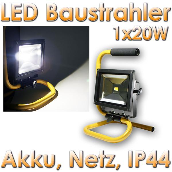 pic a led baustrahler mit akku 20w led ip44 1700lm day 20254. Black Bedroom Furniture Sets. Home Design Ideas