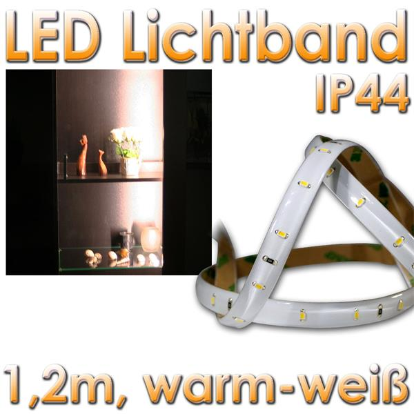 led lichtband 1 2m smd leds warmwei 12v klebend im led. Black Bedroom Furniture Sets. Home Design Ideas