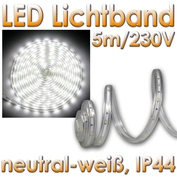 5m led lichtband neutralwei 4000k 230v ca 21w im led. Black Bedroom Furniture Sets. Home Design Ideas