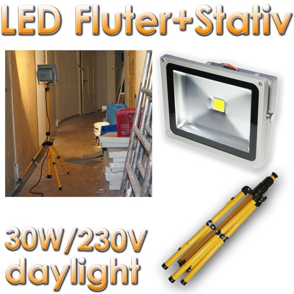 led baustrahler fluter 30w mit stativ ip65 2400lm im led onlineshop. Black Bedroom Furniture Sets. Home Design Ideas