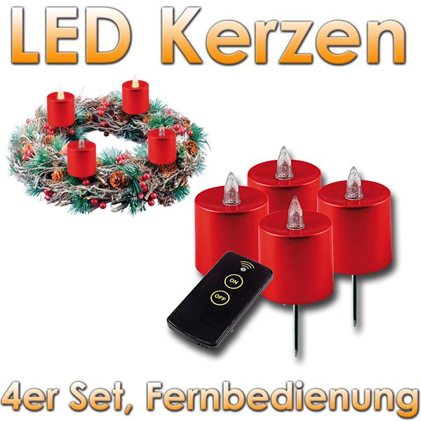 4er set led kerzen f r adventskranz mit fernbedien im led onlineshop. Black Bedroom Furniture Sets. Home Design Ideas