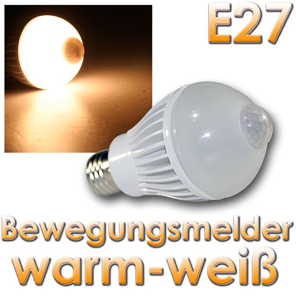 led birne e27 pir5w warmwei bewegungsmelder 320lm im led onlineshop. Black Bedroom Furniture Sets. Home Design Ideas