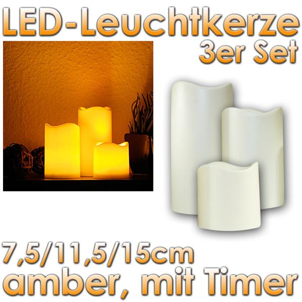 3er set led kerzen f r au en mit timer elektrisch im led onlineshop. Black Bedroom Furniture Sets. Home Design Ideas