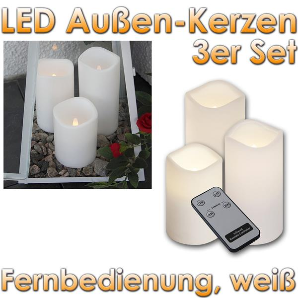 3er set led au en kerzen mit fernbedienung timer. Black Bedroom Furniture Sets. Home Design Ideas