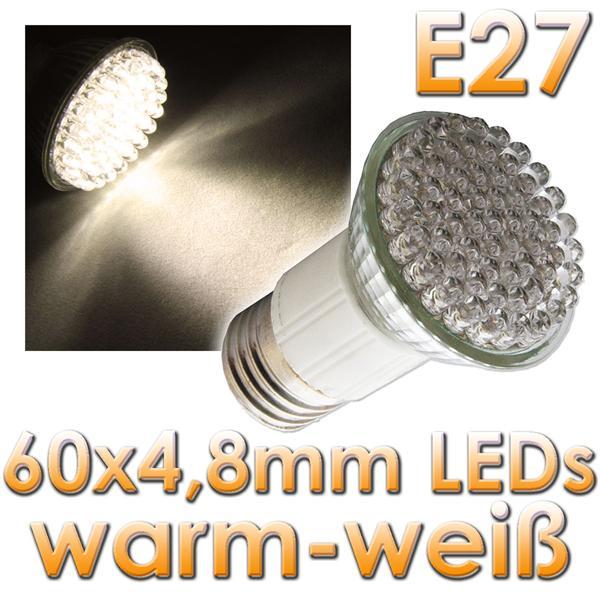 led strahler e27 warm wei 60 x 4 8mm leds 230v im led. Black Bedroom Furniture Sets. Home Design Ideas