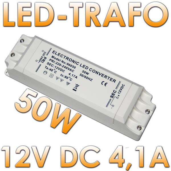 50w led transformator max 4 2a 12v dc trafo im led onlineshop. Black Bedroom Furniture Sets. Home Design Ideas