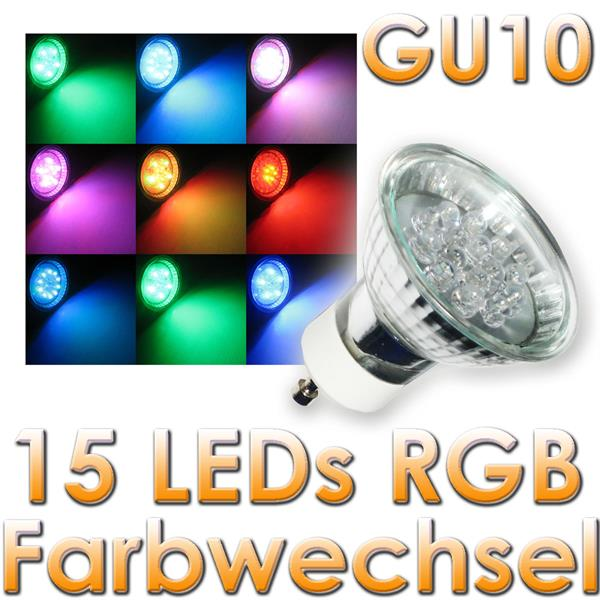 led strahler gu10 15 leds rgb farbwechsler 230v im led onlineshop. Black Bedroom Furniture Sets. Home Design Ideas