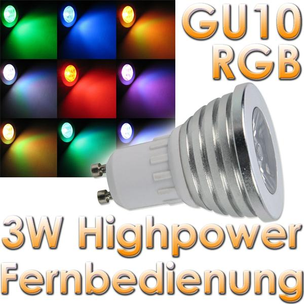 led strahler gu10 rgb mit fernbedienung 230v 3watt im led onlineshop. Black Bedroom Furniture Sets. Home Design Ideas