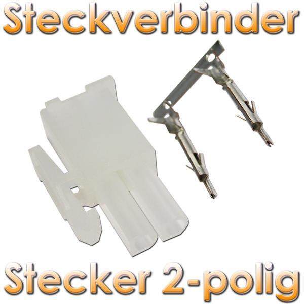 stecker 2 polig mit crimpkontakten steckverbinder im led onlineshop. Black Bedroom Furniture Sets. Home Design Ideas