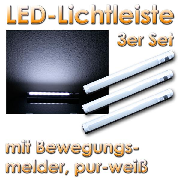 3x led lichtleiste mit bewegungsmelder wei im led onlineshop. Black Bedroom Furniture Sets. Home Design Ideas