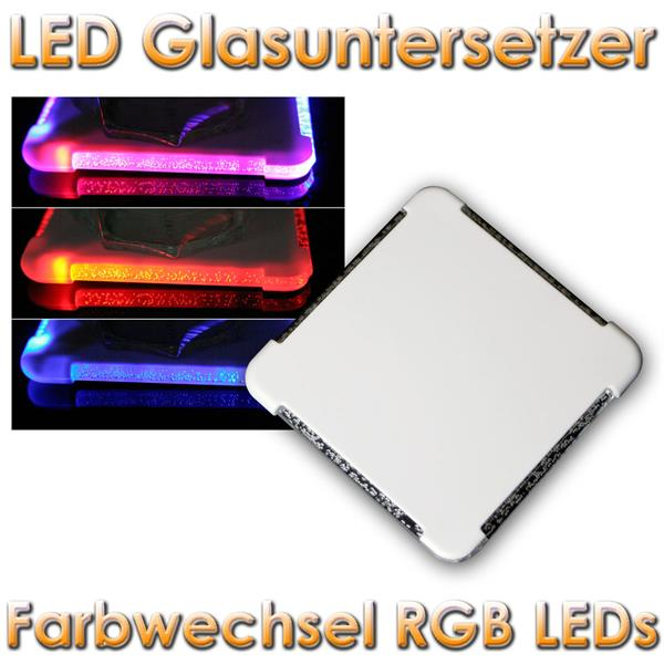 led glasuntersetzer mit farbwechsel rgb leds im led. Black Bedroom Furniture Sets. Home Design Ideas