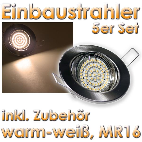 5er set mr16 60er led einbaustrahler ww chrom matt im led onlineshop. Black Bedroom Furniture Sets. Home Design Ideas