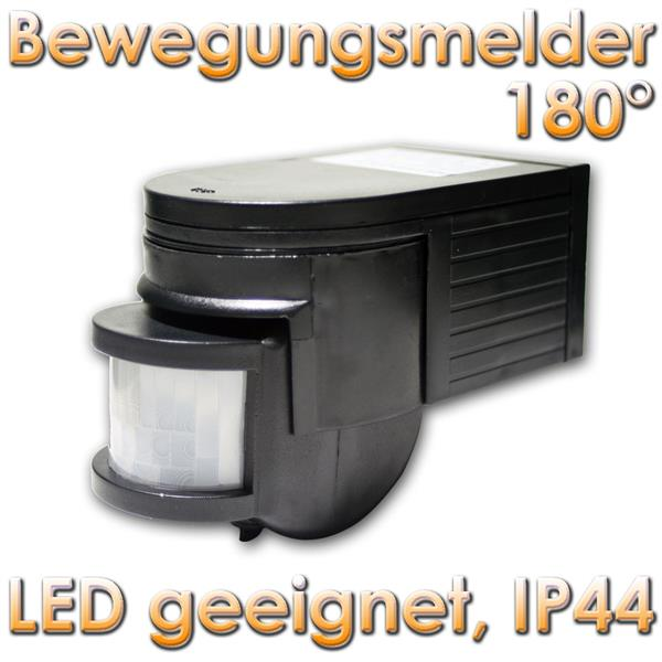 bewegungsmelder 180 schwarz led geeignet ip44 im led onlineshop. Black Bedroom Furniture Sets. Home Design Ideas