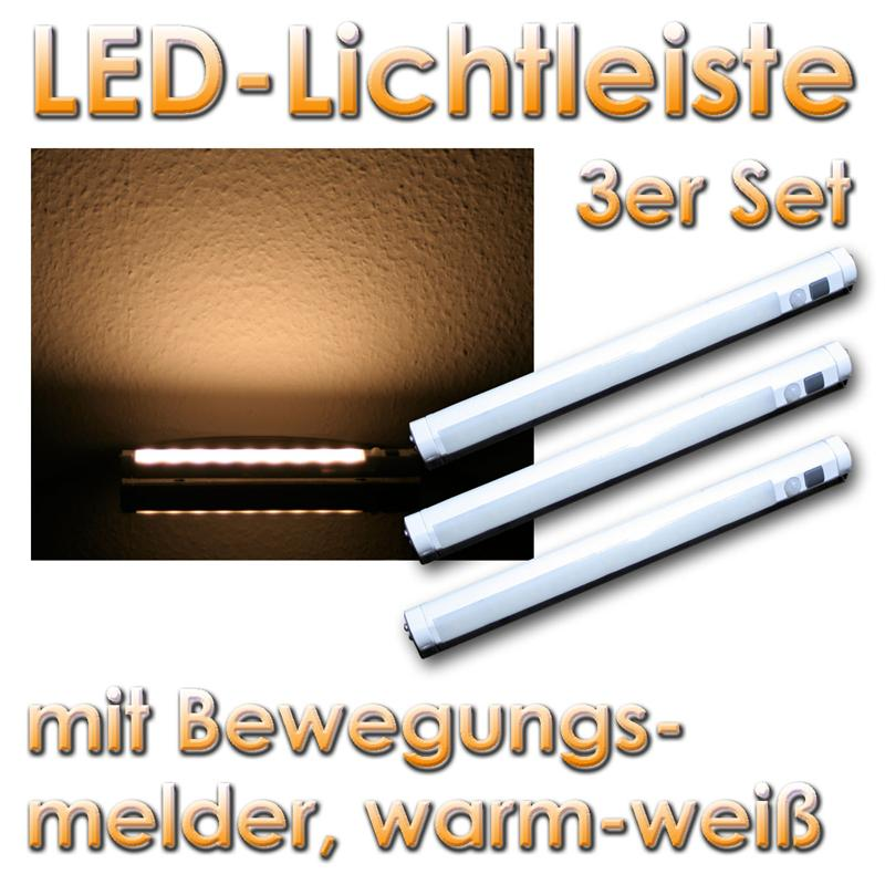 3er set led unterbauleuchte bewegungsmelder warm leds ebay. Black Bedroom Furniture Sets. Home Design Ideas
