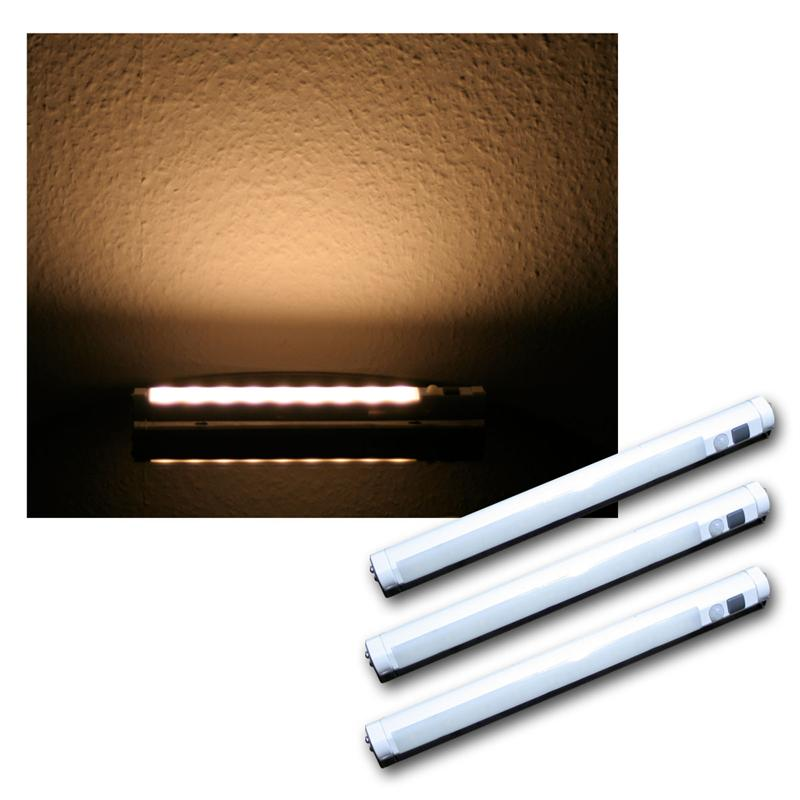 set of 3 led light strip warm white pir motion sensor rail battery powered ebay. Black Bedroom Furniture Sets. Home Design Ideas