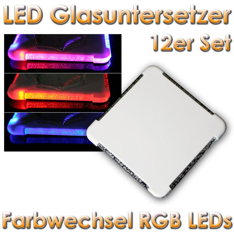 12er set led untersetzer mit farbwechsel rgb leds glas ebay. Black Bedroom Furniture Sets. Home Design Ideas