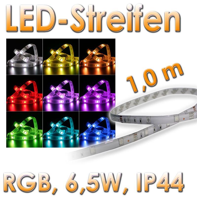 rgb led leuchtstreifen 1m 30 smd leds strip ip44 12v lichtband multicolor ebay. Black Bedroom Furniture Sets. Home Design Ideas