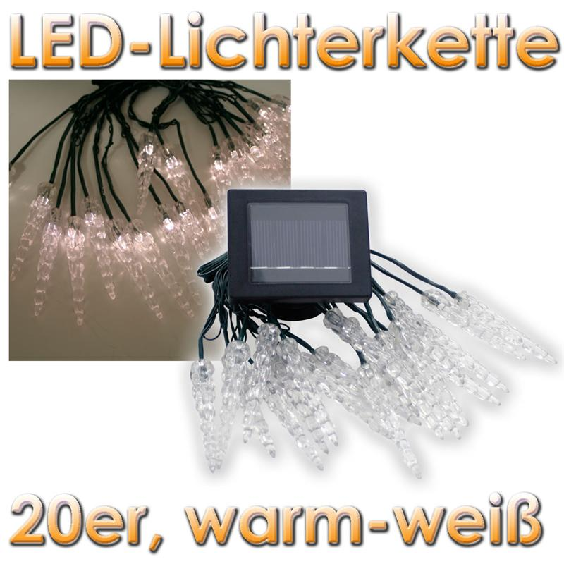 solar led lichterkette mit 20 eiszapfen warmwei weihnachtsdeko innen aussen ebay. Black Bedroom Furniture Sets. Home Design Ideas