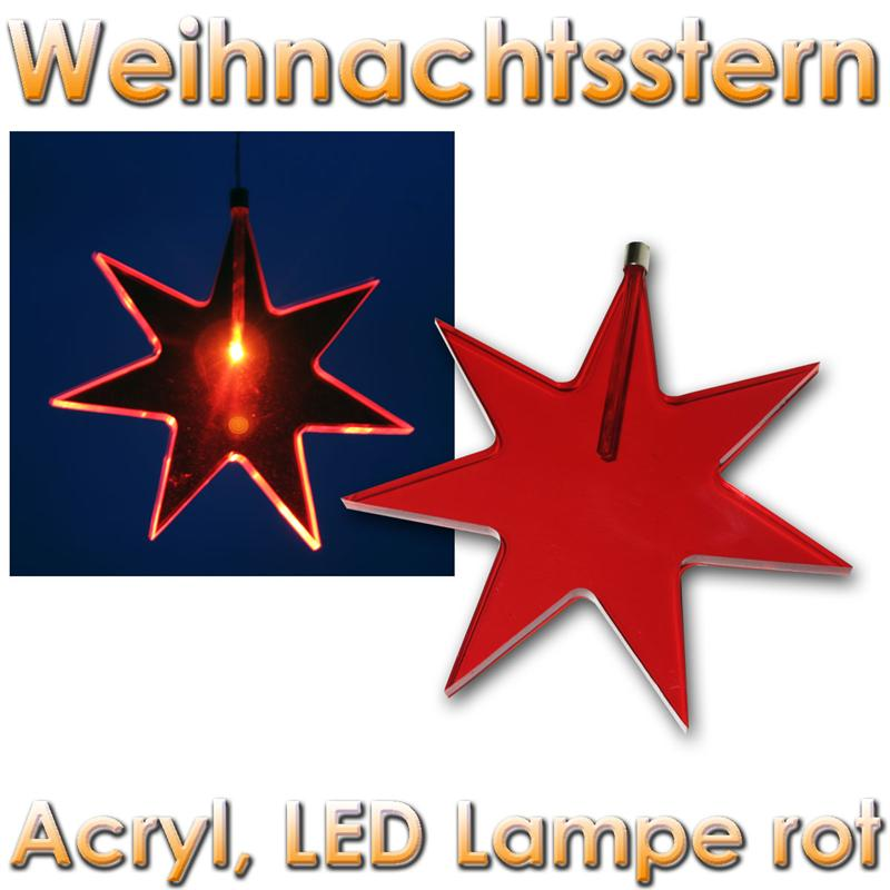 fensterstern acryl rot weihnachtsstern mit led lampe weihnachts fenster stern 22 ebay. Black Bedroom Furniture Sets. Home Design Ideas