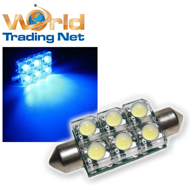 4x-SuperFlux-LED-Soffitte-6x3-Chip-LEDs-BLAU-42mm-12V