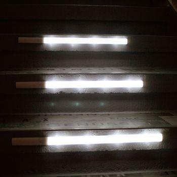 3er set treppenbeleuchtung stufenbeleuchtung mit fernbedienung kaltwei je 4 led ebay. Black Bedroom Furniture Sets. Home Design Ideas