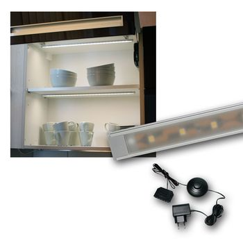 set barre lumineuse aluminium super plat 27 smd leds blanc froid baguette ebay. Black Bedroom Furniture Sets. Home Design Ideas