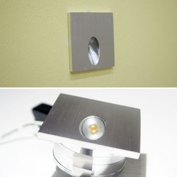 alu wandeinbaustrahler ecki 1w led warmwei wandeinbauleuchte treppenbeleuchtung. Black Bedroom Furniture Sets. Home Design Ideas