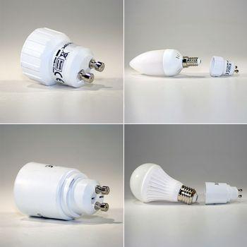 lampensockel adapter gu10 e27 g9 e14 leuchtmitteladapter adaptersockel fassung. Black Bedroom Furniture Sets. Home Design Ideas