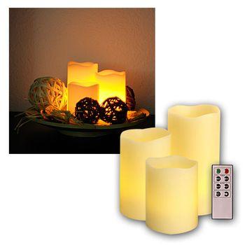 3er set led kerzen dimmbar mit fernbedienung timer wachs. Black Bedroom Furniture Sets. Home Design Ideas