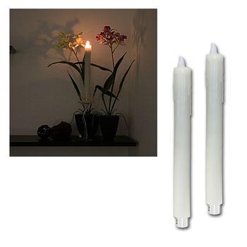 2 led stabkerzen echtwachs wei kerzen tafelkerze leuchterkerzen flammenlos. Black Bedroom Furniture Sets. Home Design Ideas