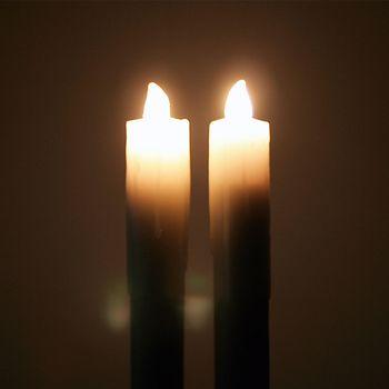 2 led stabkerzen echtwachs wei kerzen tafelkerze leuchterkerzen flammenlos bleicherode. Black Bedroom Furniture Sets. Home Design Ideas