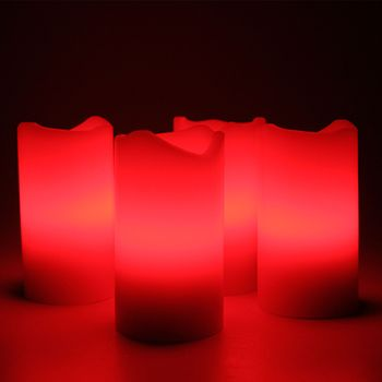 led advent kerzen set rot adventskranz adventskerzen mit fernbedienung und leds ebay. Black Bedroom Furniture Sets. Home Design Ideas