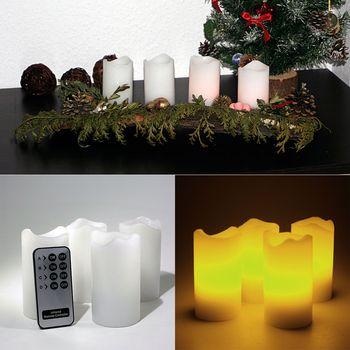led advent kerzen 4er set adventskranz adventskerzen mit fernbedienung und leds. Black Bedroom Furniture Sets. Home Design Ideas