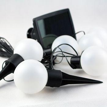 solar led lichterkette mit 6 kugeln h ngen o stecken zb wegbeleuchtung ebay. Black Bedroom Furniture Sets. Home Design Ideas
