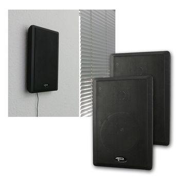 flat panel slim fine flach wand lautsprecher paar schwarz 40w 2 wege surround ebay. Black Bedroom Furniture Sets. Home Design Ideas