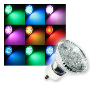 5 x gu10 led strahler rgb farbwechsel bunt spot lampe ebay. Black Bedroom Furniture Sets. Home Design Ideas