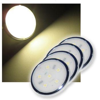 4er set led spots aufbaustrahler 6mm flach warm wei ebay. Black Bedroom Furniture Sets. Home Design Ideas